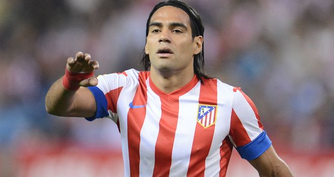 Falcao: Scored from the penalty spot in Atletico Madrid's seven-goal thriller derby win over Rayo Vallecano