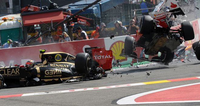 Romain Grosjean received a one-race ban for causing this pile-up