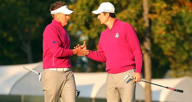 Ian Poulter and Justin Rose: Europe's first point of day two