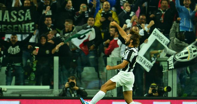 Andrea Pirlo celebrates his strike.