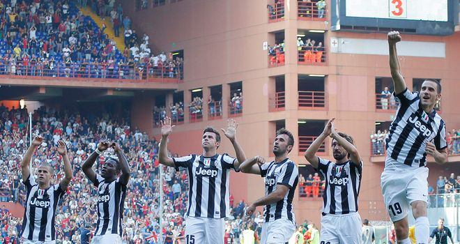 Juventus celebrate victory at Genoa