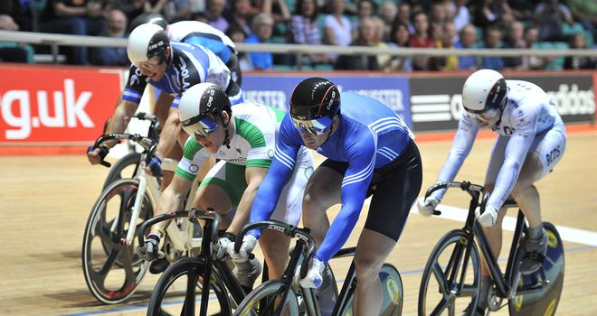 Matt Crampton (nearest): Edges out Rotherham in an exciting keirin duel