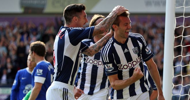 McAuley: Celebrates Albion's second goal