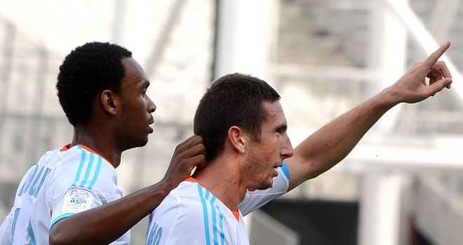 Morgan Amalfitano: Celebrates after scoring for Marseille against Evian