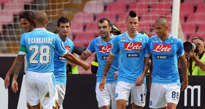 Napoli celebrate Goran Pandev's goal