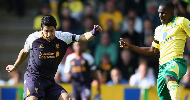 Luis Suarez: Liverpool striker was unfortunate not to be awarded a penalty against Norwich