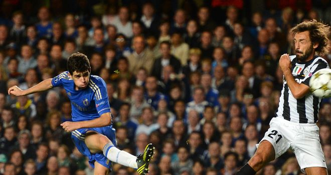 Oscar's shot flies past Andrea Pirlo and lights up Stamford Bridge in a superb full debut