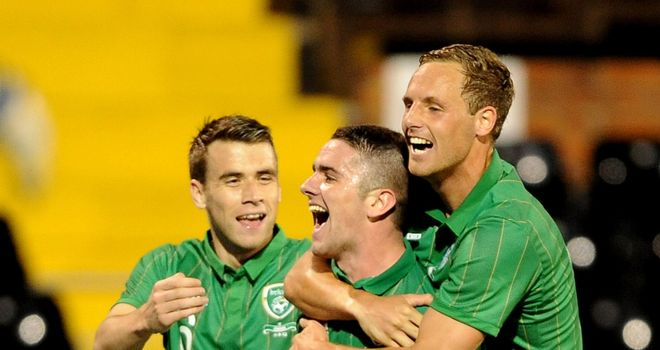 Robbie Brady: Celebrates his goal on his international debut