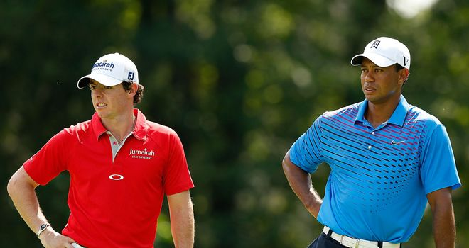Rory McIlroy and Tiger Woods: shot a combined 15-under