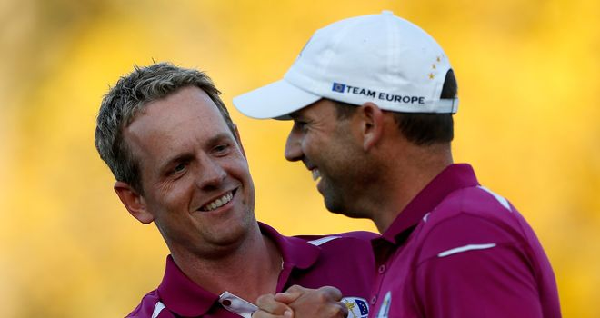 Luke Donald (left) congratulates Sergio Garcia