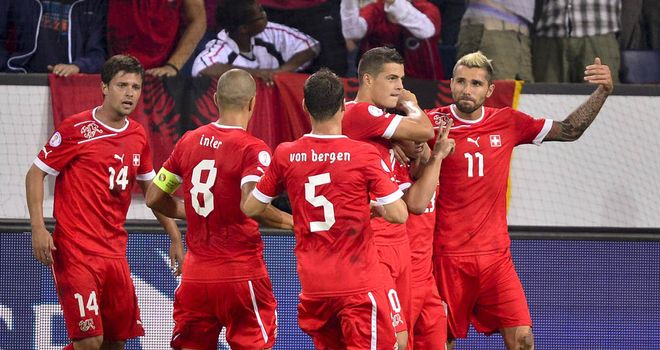 Switzerland enjoy Xherdan Shaqiri's goal.