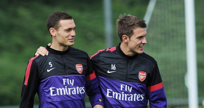 Thomas Vermaelen and Aaron Ramsey: Arsenal team-mates are rivals for the night