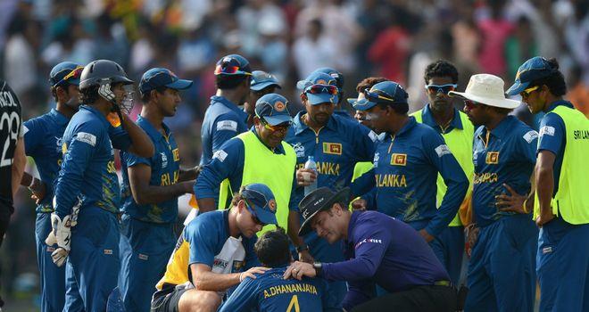 Akila Dananjaya: Sri Lanka spinner hit in the face by Rob Nicol's drive