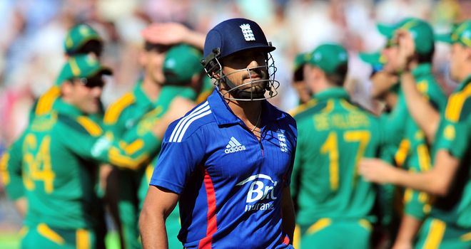 Ravi Bopara on his way back to the pavilion in World T20