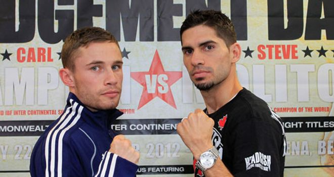 Carl Frampton (L) and Steve Molitor: Defeat could spell the end for the Canadian (pic Lawrence Lustig)