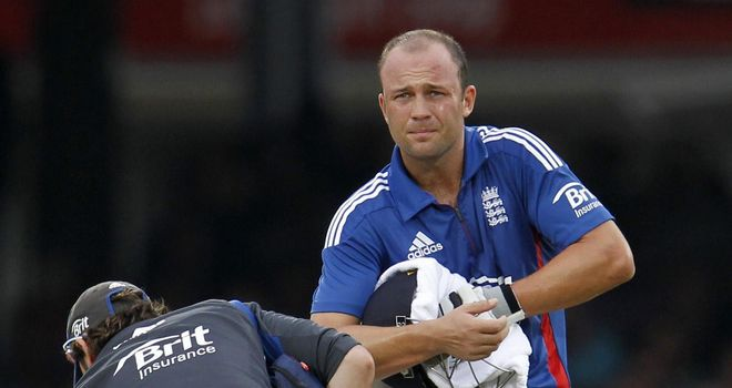 Jonathan Trott: struck on the hand by a Dale Steyn delivery at Lord's