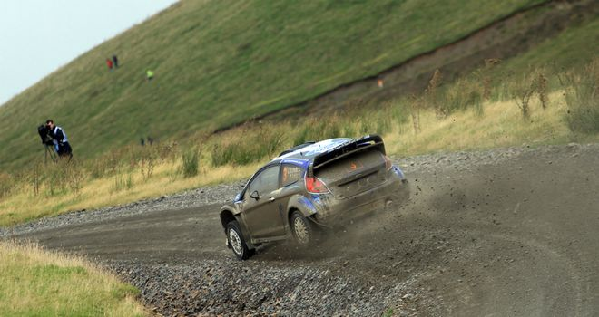 Jari-Matti Latvala carves his way through the Welsh countryside