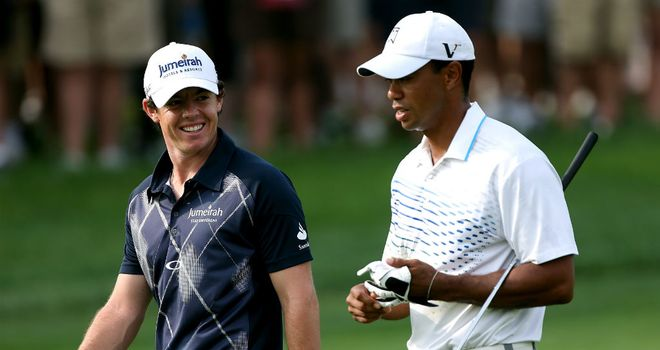 Rory McIlroy (L) has established himself as World No.1 ahead of Tiger Woods (R)