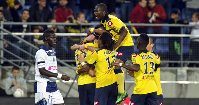 Sochaux celebrate their second goal