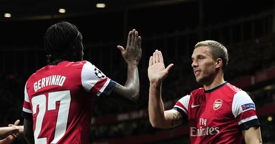 Gervinho: Celebrates with Podolski