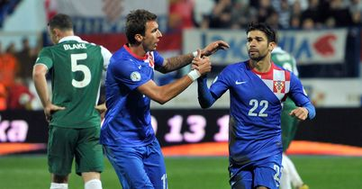 Eduardo: Celebrates his goal for Croatia