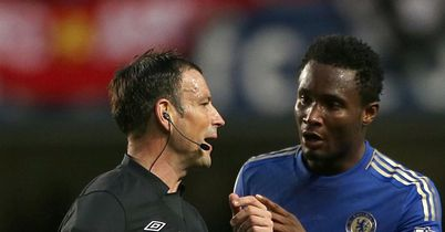 Mark Clattenburg and John Obi Mikel: Clashed during Chelsea's defeat
