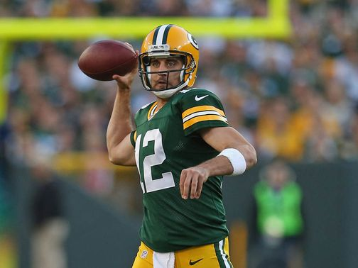 Aaron Rodgers in action on Sunday