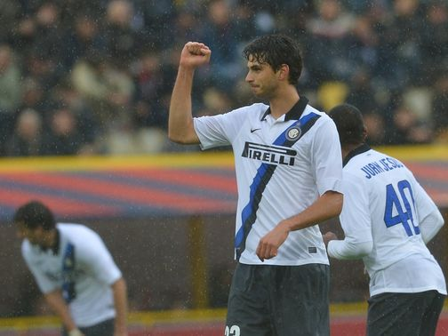 Andrea Ranocchia celebrates his goal.