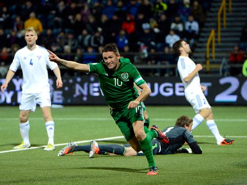 Robbie Keane celebrates for Republic of Ireland
