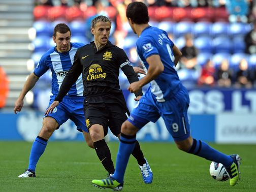 Phil Neville in action for Everton.