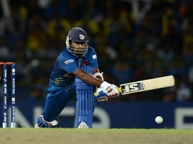 Mahela Jayawardene in action in the semi-final