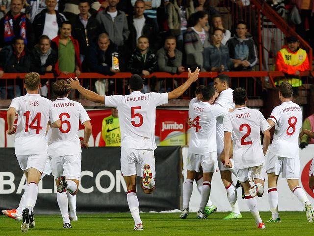England Under-21s celebrate in Serbia