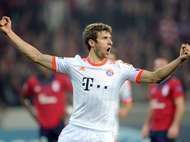 Thomas Müller celebrates for Bayern Munich