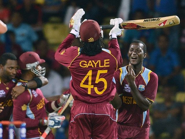 Gayle and the West Indies celebrate their win