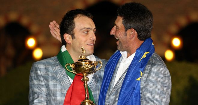 Francesco Molinari poses with European captain Jose Maria Olazabal and the Ryder Cup