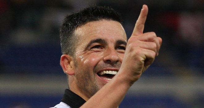 Antonio Di Natale celebrates his winning goal against Roma