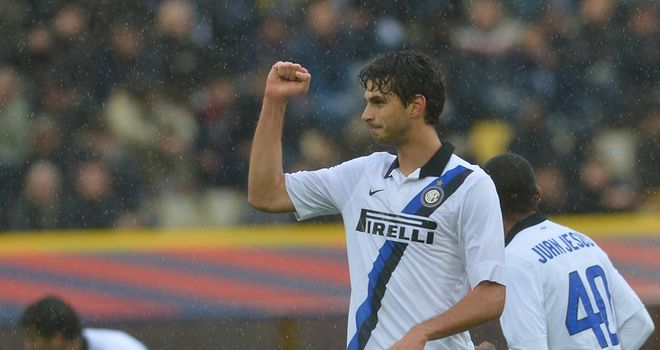 Andrea Ranocchia: Celebrates putting Inter Milan ahead against Bologna