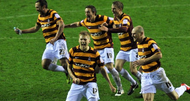 Bradford City: Celebrate their penalty shoot-out victory at Wigan