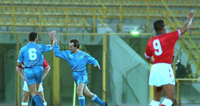 Davide Gualtieri celebrates after giving San Marino a shock lead against England in 1993