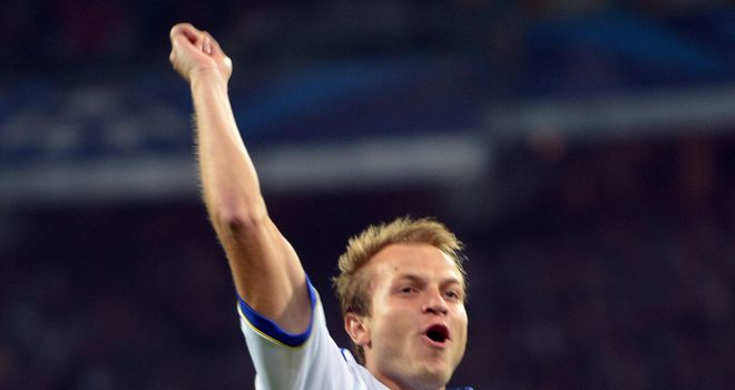 Oleh Gusev celebrates for Dynamo Kiev