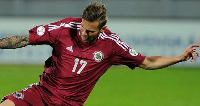 Edgars Gauracs: On target for Latvia in victory over Liechtenstein