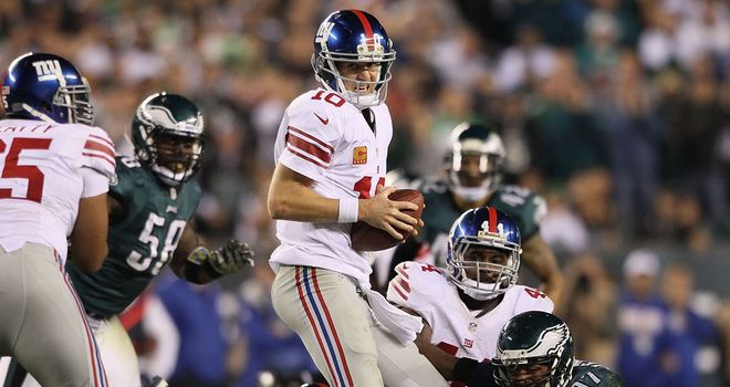 Eli Manning: Threw for 309 yards with two touchdown passes against the Eagles