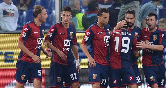 Genoa celebrate against Palermo