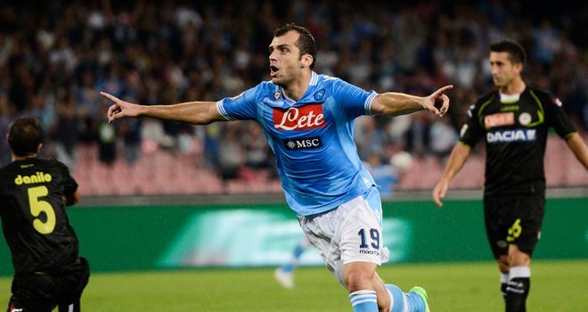 Goran Pandev celebrates his winning goal