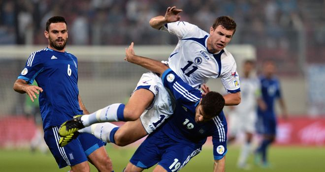 Edin Dzeko: Scored twice as Bosnia-Herzegovina beat Greece