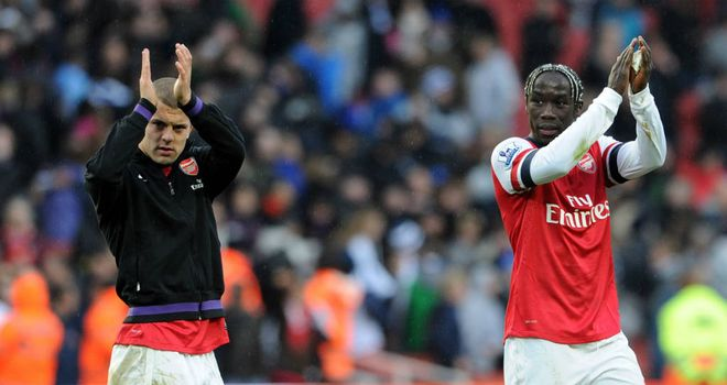Jack Wilshere and Bacary Sagna: Returned from long-term injury in Arsenal's win over QPR