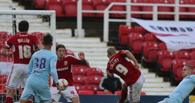 Collins (c): Nets Swindon's equaliser