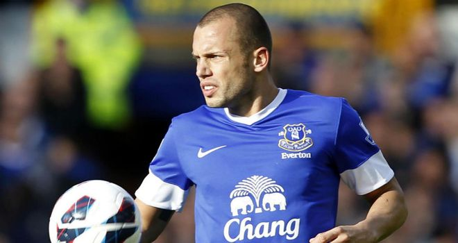 John Heitinga: The Dutchman has been alternated with Sylvain Distin at the heart of Everton's defence this season