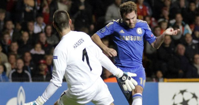 Juan Mata slots home the only goal of the game for Chelsea against Nordsjaelland