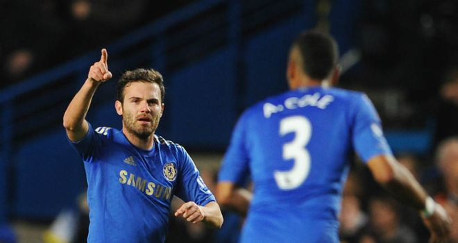 Juan Mata: the midfielder celebrates his goal against Manchester United
